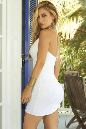 White Plunging Drape Dress