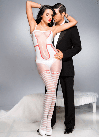 White & Red Crotchless Bodystocking