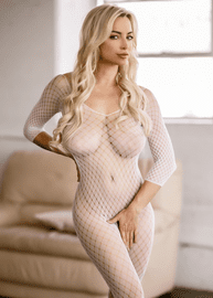 White Sexy Mesh Crotchless Bodystocking
