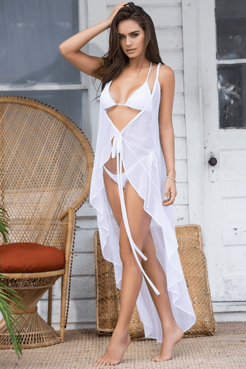 White Sheer Wrap Dress