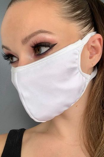 White Solid Lycra Face Mask