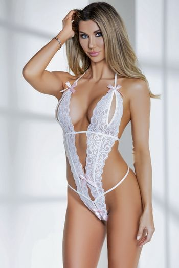 White Split Cup & Crotchless Lace Teddy