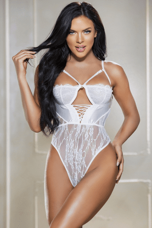 White Strappy Lace & Satin Teddy