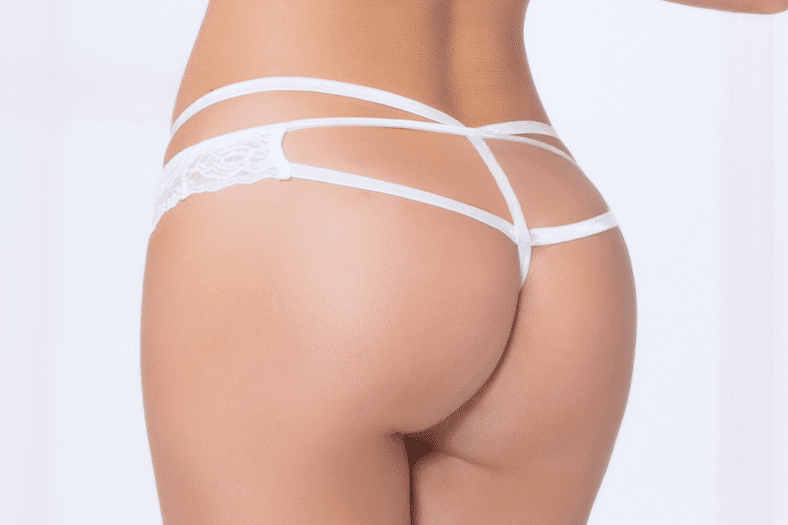 White Strappy Lace Thong