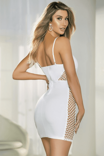 White V Wire Mini Dress