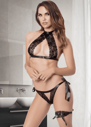 Wild Love Lace Bra & Crotchless Panty Set