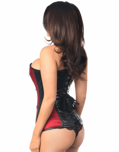 Wine Brocade Faux Leather Lace Up Corset