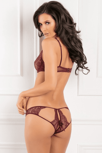 With Love Burgundy Half Cup Bra & Panty