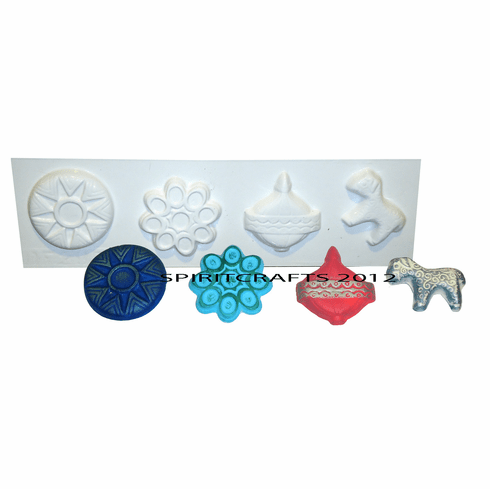 "4 ON 1 CHRISTMAS ORNAMENT PLASTER MOLD (2.75"" HT)"
