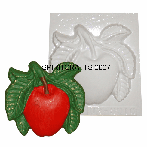 "APPLE WITH LEAVES PLASTER CRAFT MOLD (7"" x 6.25"")"