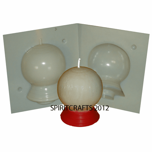"""ART DECO BALL ON<br> STAND CANDLE MOLD<br> (3.75"""" HT, 9.75 oz)"""