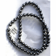 ARTIFICIAL HEMATITE BEADS, 6mm ROUND, STRANDS
