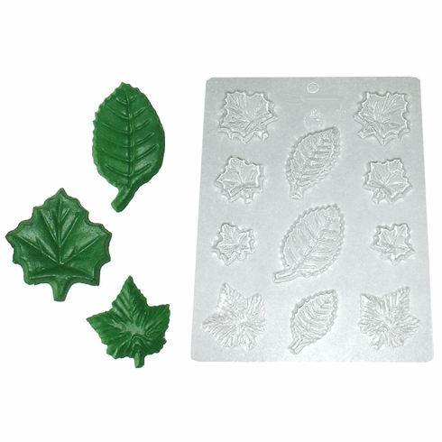 ASSORTED LEAVES CANDLE EMBED / CANDY MOLD, 11 WELL
