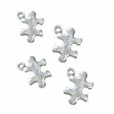 "AUTISM AWARENESS PUZZLE PIECE PEWTER CHARMS (.3"" DIA)"