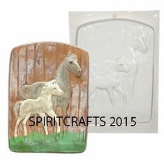 "BARN DOOR HORSE AND COLT PLASTER MOLD (6.5"" HT)"