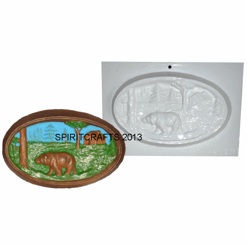 """BEAR WITH CABIN PLASTER CASTING MOLD (9"""" x 5.5"""")"""