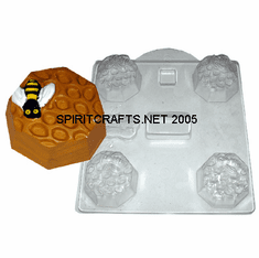 BEE & HONEYCOMB SOAP MAKING MOLD, 3 WELL