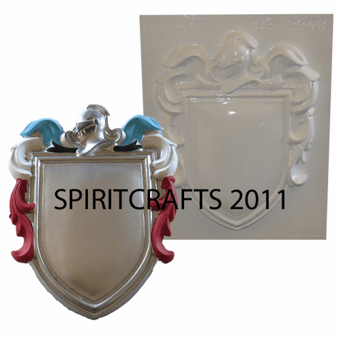 """BLANK KNIGHT COAT OF ARMS PLASTER MOLD (7.5"""" x 9.5"""")"""