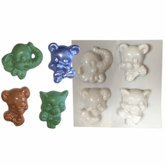 BOW TIE ANIMALS<br> SOAP MOLD, 4 ON 1