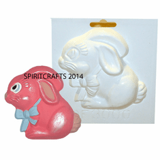 "BUNNY WITH BOWTIE PLASTER MOLD (4.25"" x 4"")"
