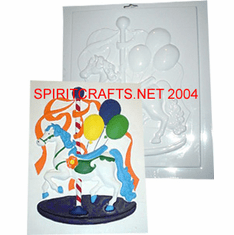 "CAROUSEL HORSE PLASTER CRAFT MOLD (10.75"" X 13.5"")"