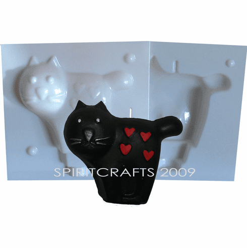 "CAT WITH HEARTS CANDLE MAKING MOLD (3.5"" HT, 5.5 oz)"