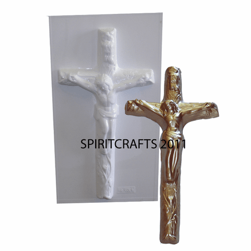 "CATHOLIC ""IN RI"" CRUCIFIX PLASTER MOLD (12.25"" x 6"")"