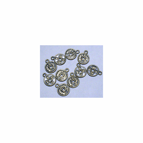 CHINESE GOOD LUCK COIN CHARMS, 19mm x 15mm
