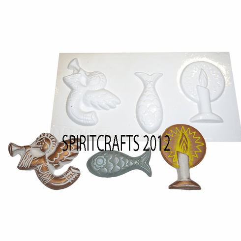 CHRISTMAS CANDLE FISH AND ANGEL PLASTER MOLD (3 on 1)