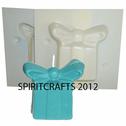 """CHRISTMAS GIFT<br> CANDLE MOLD<br> LARGE BOW<br> (3"""" DIA)"""
