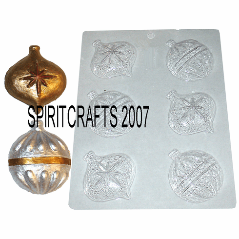 CHRISTMAS ORNAMENT CHOCOLATE / APPLIQUE MOLD, 6 WELL