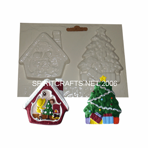 CHRISTMAS ORNAMENTS PLASTER MOLD, 2 ON 1