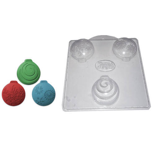 CHRISTMAS ORNAMENTS SOAP MOLD, 3 ON 1