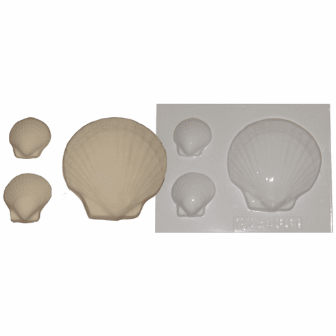 CLAM SHELL PLASTER OR SOAP MOLD, 3 ON 1
