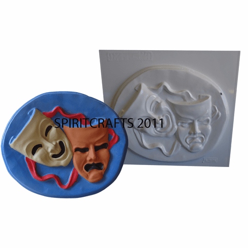 """COMEDY AND TRAGEDY MASKS PLASTER MOLD (10.5"""" x 8.75"""")"""