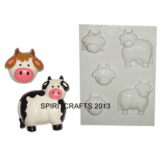 CUTE COWS PLASTER MOLD, 5 ON 1 (ASST'D SIZES)