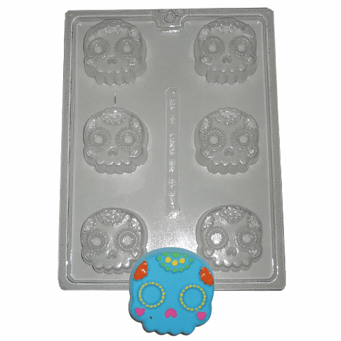 "DAY OF THE DEAD SUGAR SKULL CHOCOLATE / SOAP MOLD (2.5"" DIA)"