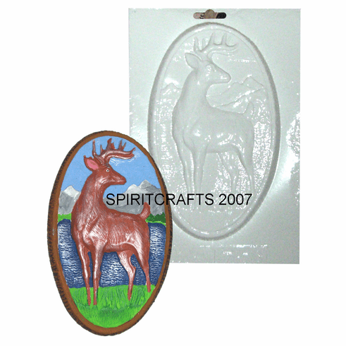 """DEER WITH MOUNTAINS PLASTER CRAFT MOLD (5"""" x 8"""")"""