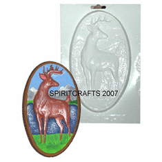 "DEER WITH MOUNTAINS PLASTER CRAFT MOLD (5"" x 8"")"