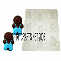 "DETAILED GINGERBREAD MAN CANDLE EMBED / CANDY MOLD (2.25"" HT)"