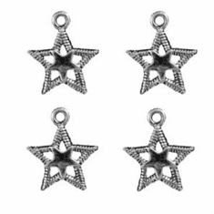 DOUBLE STAR PEWTER CHARM BEADS, .7 INCH DIA.
