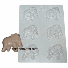 ELEPHANT CANDLE EMBED / CANDY MOLD, 6 WELL