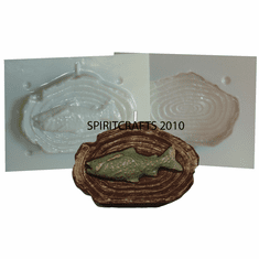 """FISH ON LOG CANDLE MAKING MOLD (5.25"""" x 3.5"""")"""