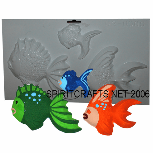 """FISH WITH BUBBLES PLASTER CRAFT MOLD, 3 ON 1 (6"""" x 6"""")"""