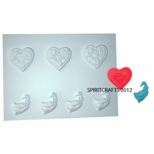 FLORAL HEART and <BR> GOOSE / DUCK <BR>WAX APPLIQUE MOLD<BR> 7 on 1