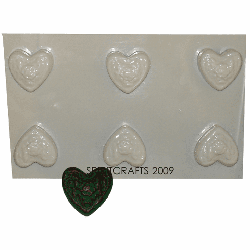 FLORAL HEART SOAP MOLD, 6 WELL