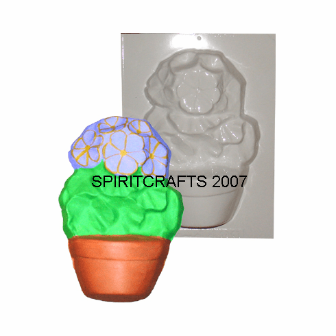 "FLOWER IN POT PLASTER CRAFT MOLD (5.25"" x 7.5"")"