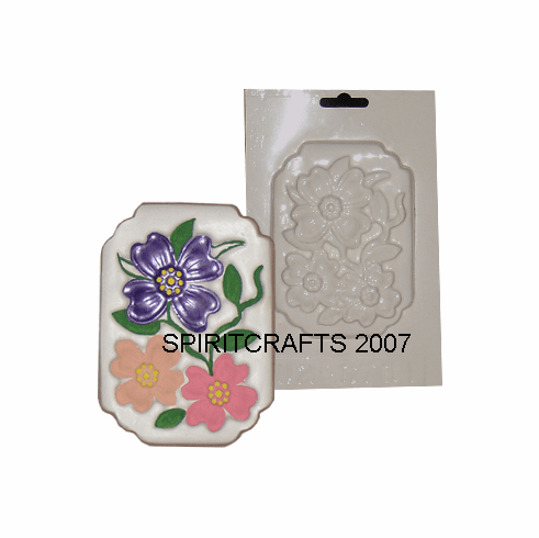 "FLOWER PLAQUE PLASTER MOLD, SMALL (5"" x 3.5"")"