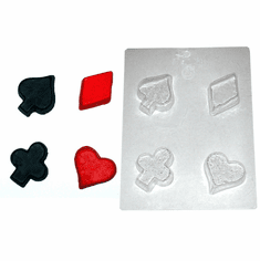 FOUR CARD SUITS (POKER) CANDLE EMBED / CANDY MOLD, LARGE
