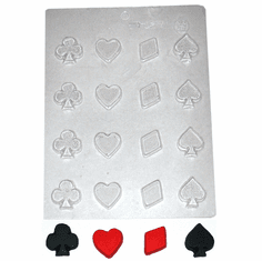 FOUR CARD SUITS (POKER) CANDLE EMBED / CANDY MOLD, SMALL